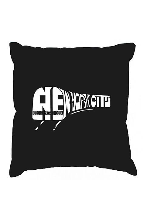 Word Art Throw Pillow Cover - NY Subway