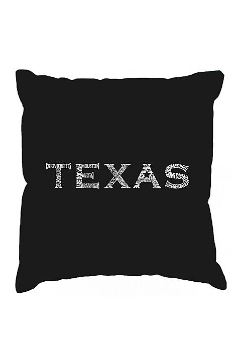 Word Art Throw Pillow Cover - The Great Cities of Texas