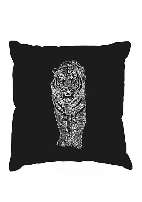 Word Art Throw Pillow Cover - Tiger