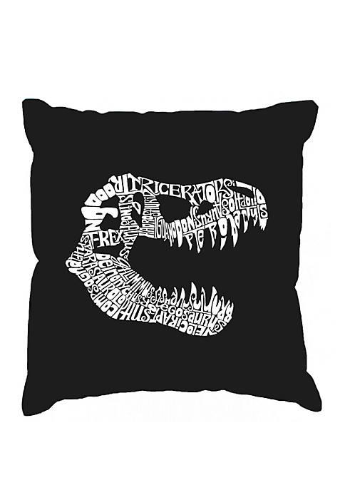 Word Art Throw Pillow Cover - T-Rex