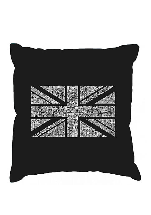 Word Art Throw Pillow Cover - Union Jack