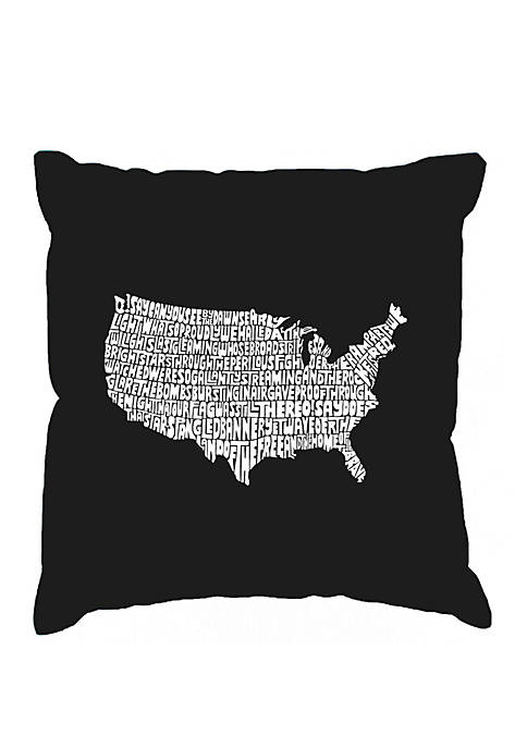 Word Art Throw Pillow Cover - The Star Spangled Banner
