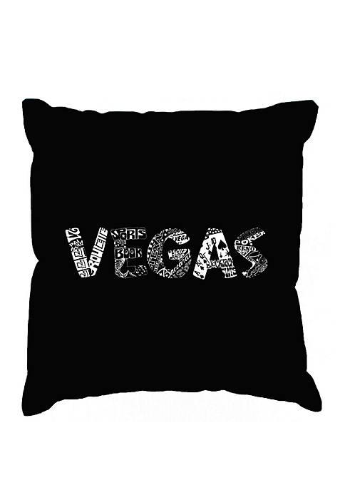 Word Art Throw Pillow Cover - Vegas