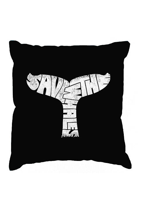 Word Art Throw Pillow Cover - Save The Whales