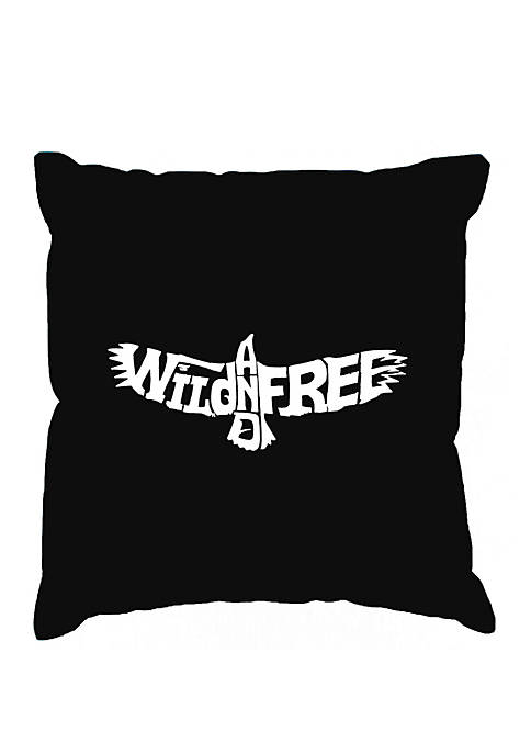 Word Art Throw Pillow Cover - Wild and Free Eagle