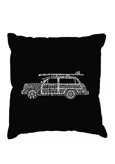 Word Art Throw Pillow Cover - Classic Surf Songs