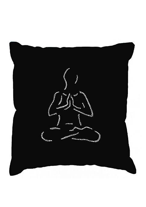 Word Art Throw Pillow Cover - Popular Yoga Poses