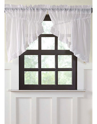 Farmhouse Kitchen Simplicity Cambric Ruffled Swag Curtains Set