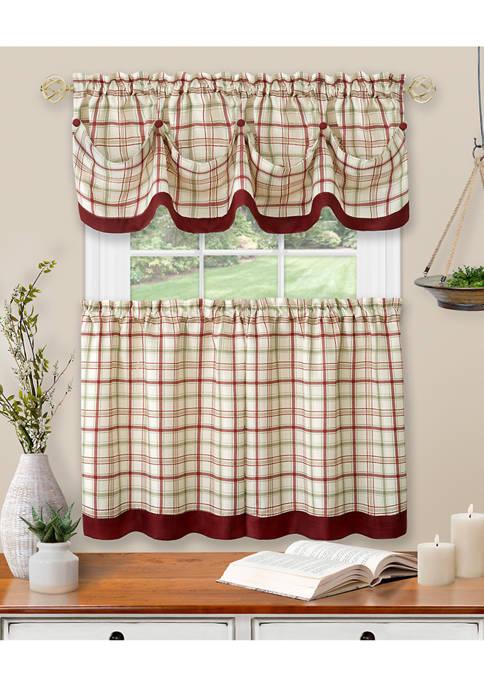 Achim Tattersall Window Curtain Tier Pair and Valance