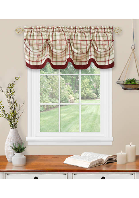 Tattersall Tuck Valance with Buttons - 58x14