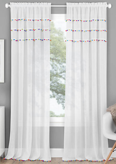 Achim Pom Pom Rod Pocket Window Curtain Panel
