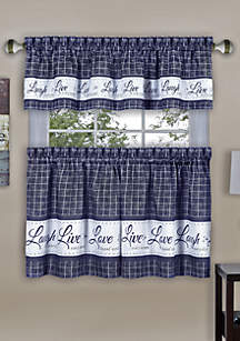 Achim Live, Love, Laugh Window Curtain Tier Pair and Valance Set
