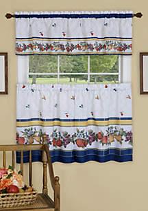 Achim Fruity Tiles Tier and Valance Window Curtain Set