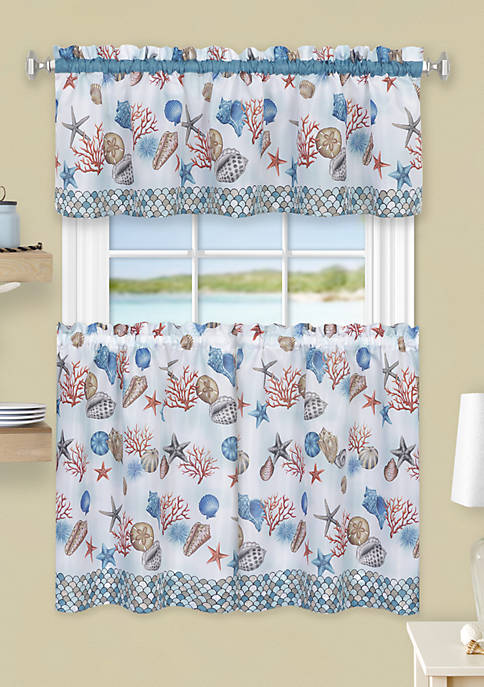 Achim Coastal Tier and Valance Window Curtain Set