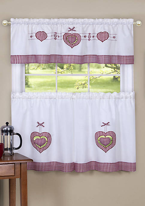 Gingham Hearts Embellished Tier and Valance Window Curtain Set