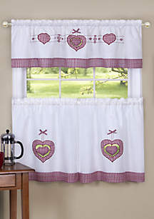Achim Gingham Hearts Embellished Tier and Valance Window Curtain Set