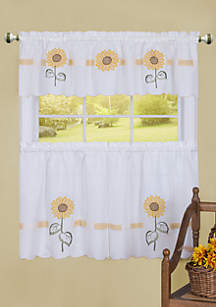 Achim Sun Blossoms Embellished Tier and Valance Window Curtain Set