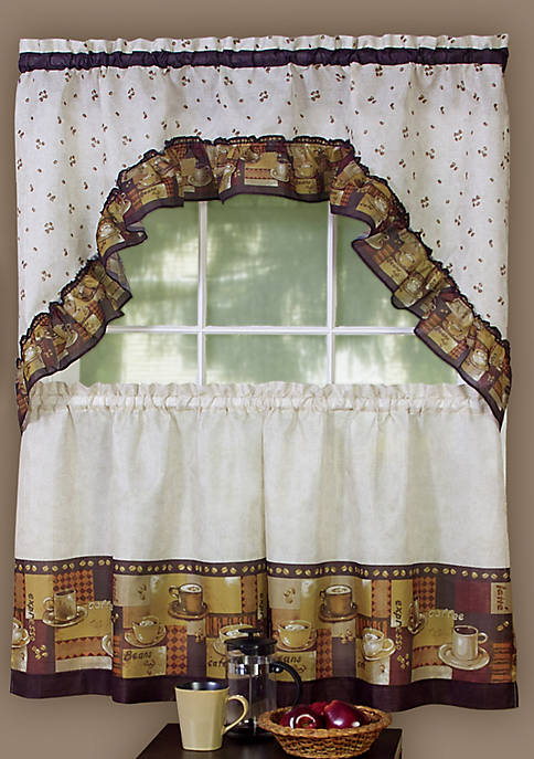 Coffee - Printed Tier and Swag Window Curtain Set