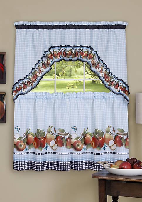 Golden Delicious - Printed Tier & Swag Window Curtain Set