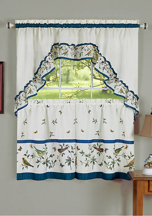Love Birds - Printed Tier and Swag Window Curtain Set