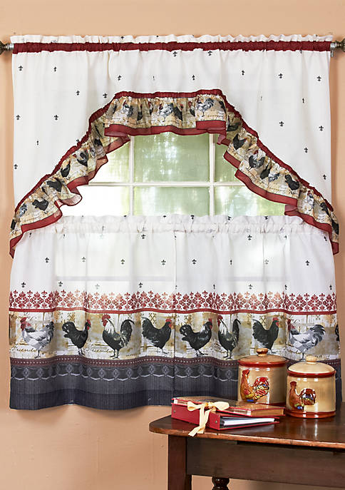 Rooster - Printed Tier and Swag Window Curtain Set