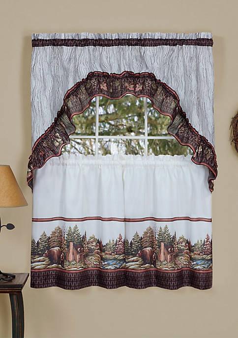 Woodlands - Printed Tier & Swag Window Curtain Set