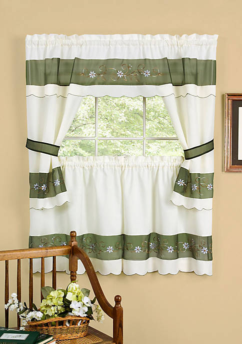 Achim Berkshire Embellished Cottage Window Curtain Set