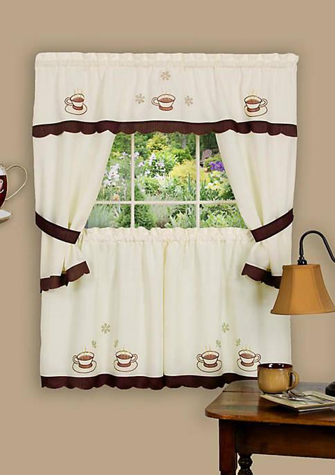 Achim Cuppa Joe Embellished Cottage Window Curtain Set