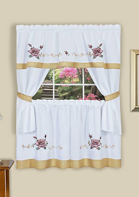 Rose Embellished Cottage Window Curtain Set