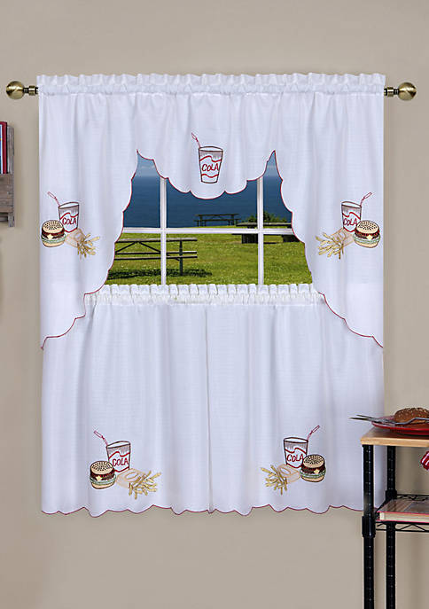 Fast Food Embellished Tier and Swag Window Curtain Set