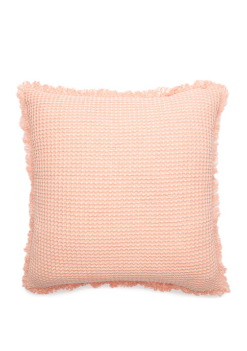 Distressed Waffle Throw Pillow