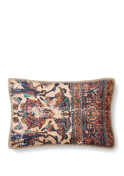 Tan Rug Print Throw Pillow