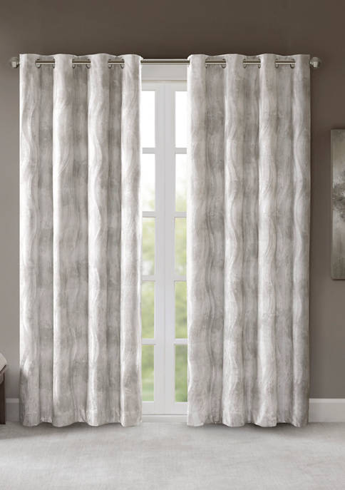 Victorio Printed Jacquard Grommet Top Total Blackout Curtain