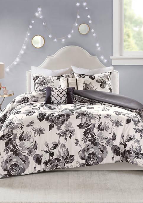 Intelligent Design 4 Piece Dorsey Floral Print Duvet