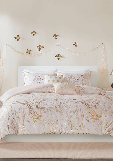 Intelligent Design 4 Piece Rebecca Metallic Printed Duvet