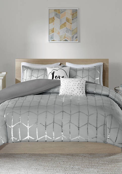 Intelligent Design 4 Piece Raina Printed Duvet Cover