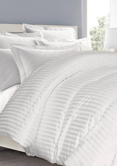 350 Thread Count Supreme Cotton Damask Stripe White Down Comforter