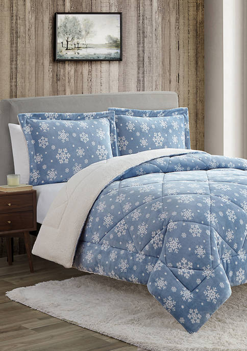 Home Suite Ultra Plush Snowflakes Comforter Set