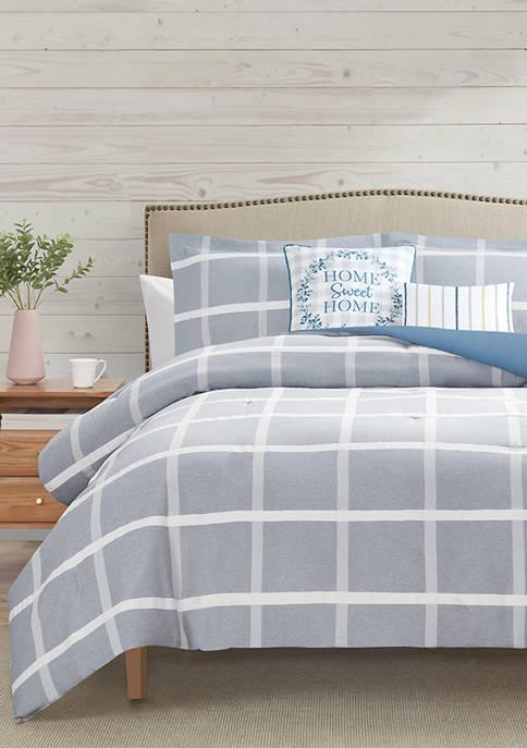 Windowpane Plaid 5-Piece Comforter Collection