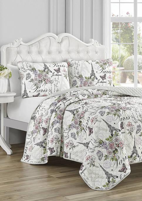 CEDAR COURT Paris Floral Cotton Reversible Quilt Set