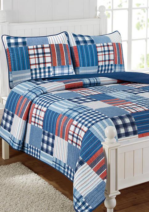 Hudson Plaid Cotton Reversible Patchwork Quilt Set