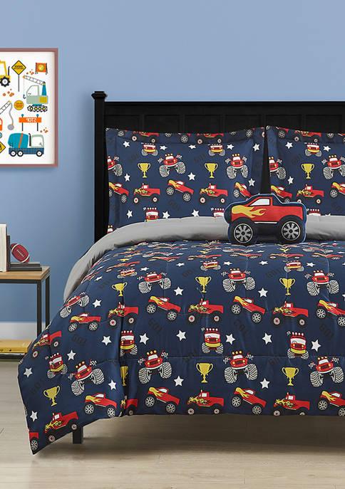 CLOUD 9 Monster Truck Navy Comforter Set with