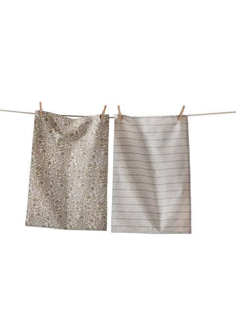 tag Oasis Block Print Kitchen Towel Set