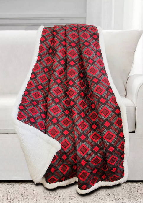Harper Lane Cottage Plaid Quilted Sherpa Throw
