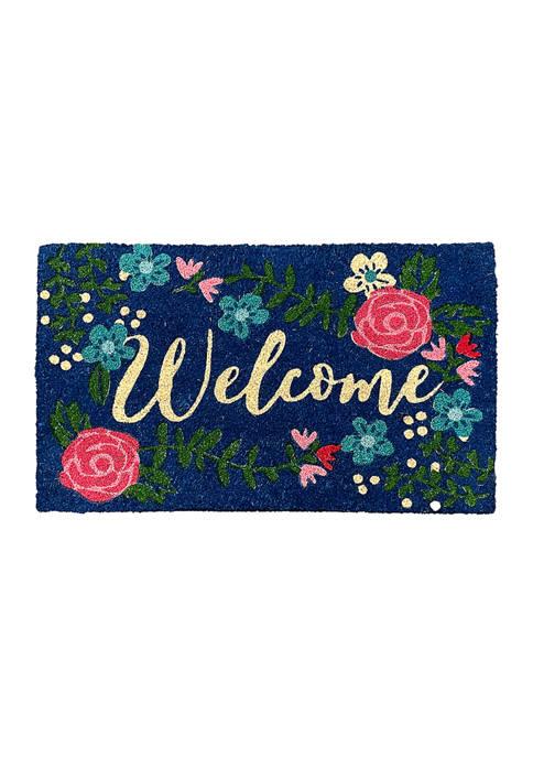 Lang Welcome Floral Rubber Backed Coir Door Mat