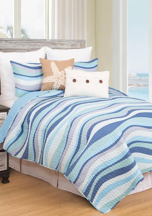 C&F Seawaves Coastal Quilt Set