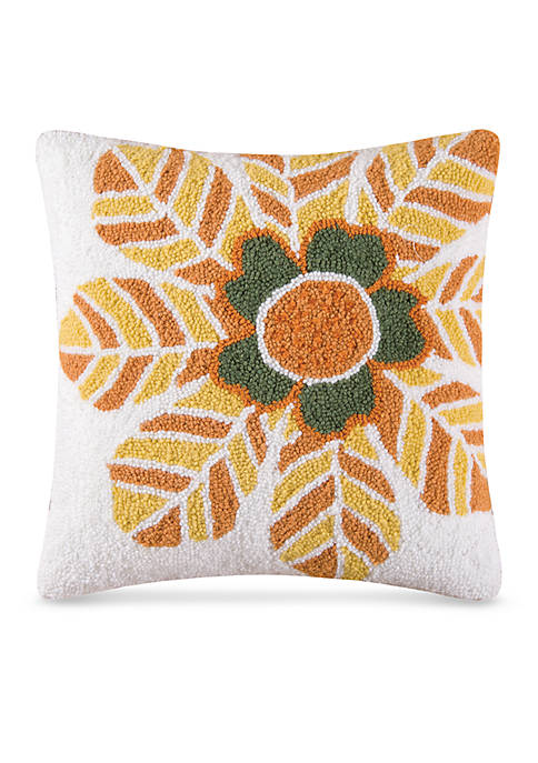 Isabo Orange Floral Hooked Decorative Pillow 18-in. x 18-in.