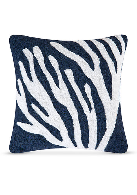 C&F Coral On Blue Decorative Pillow