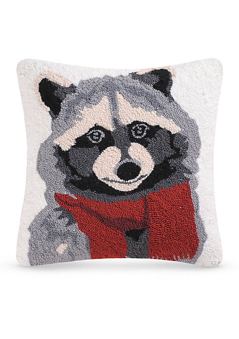 C&F Welcome Friends Raccoon Hooked Pillow