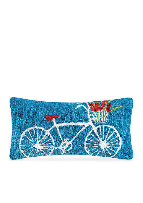 C&F White Bike Decorative Pillow